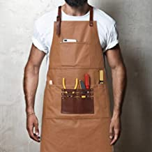 Heavy Duty Canvas Work Shop Apron with Pockets for Men,Waterproof Tool Apron Adjustable Shop Apron for Woodworking,Machinist,Blacksmith,Chef,Barber,BBQ