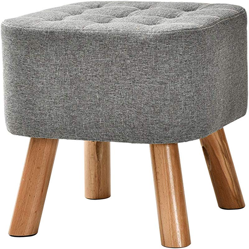 Round Wooden Support Upholstered Footstool Household Sofa Stool Detachable Stool Legs And Linen Cover 40cmx40cm Max 75KG 8 Colors