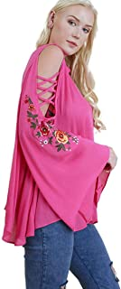 Umgee Women's Embroidered Cold Shoulder Bell Sleeve Top with Crisscross Details