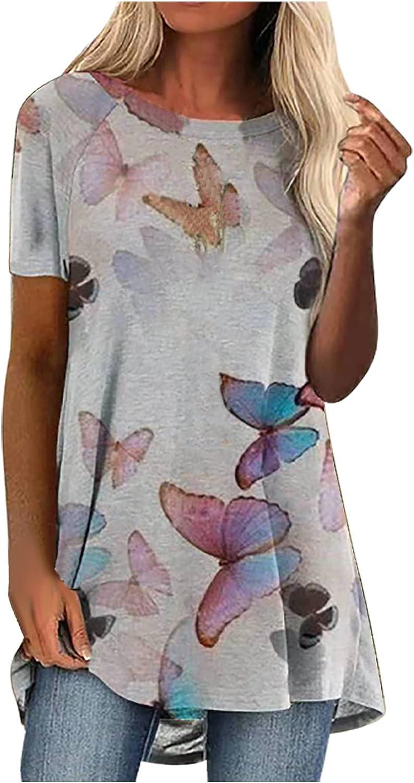 Women Fashion Crew Neck Short Sleeve Printed Long T-Shirt Blouse Loose Tops Summer Tops Tee Shirts Blouse