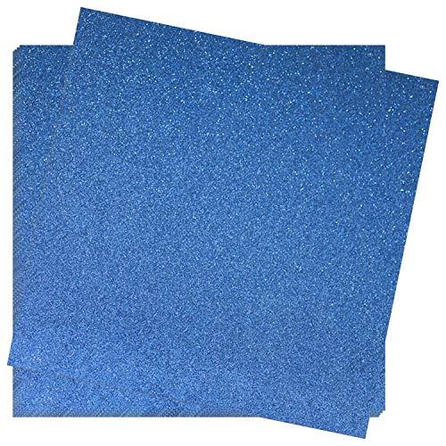 Crafasso No-Shed Shimmer Glitter cardstock, 12' x 12' 300GMS, 15 Sheets, Marine Blue
