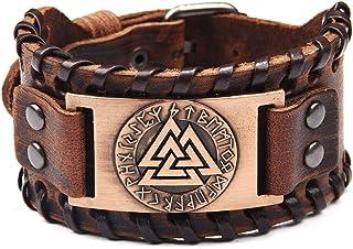 سوار جلدي أصلي مزين بشعار Linran Valknut Odin's Symbol Genuine Leather rones Patten اليدوية قابل للتعديل أساور أكمام للرجا...
