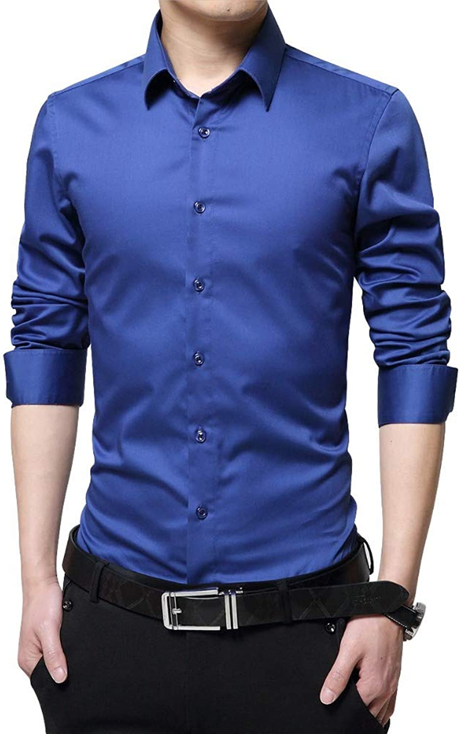 DUXIGJCD Brand Men Dress Shirts Mercerized Cotton Solid color Slim Fit Long Sleeve Silk Shirt Smooth Mens Shirts Big