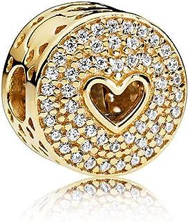 Biggold Fit Pandora Bracelet Happy Anniversary Charm S925 Clear CZ Love Heart Beads for Women Bracelet&Necklace