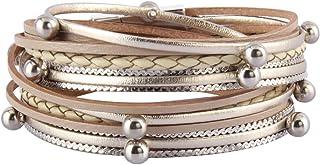 Jenia Womens Leather Cuff Bracelet Charm Multi-Strand...