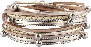 Jenia Women Leather Wrap Bracelet Silver Beads Multilayer Bracelets Cuff Bangles Casual Handmade Jewelry Bohemian Gifts for Girls, Kids, Lady, Mother