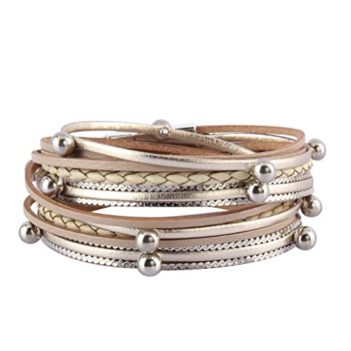 4e0bf1ffa12 Jenia Womens Leather Cuff Bracelet Charm Multi-Strand Rope Braided Wrap  Bracelets Casual Cuff Bangle