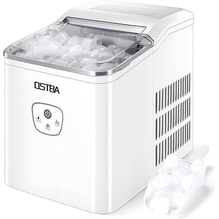OSTBA Machine à glaçons,26 lbs/12 kg en 24 Hours,Automatique électrique Compact Portable Machine à glace,9 Glaçons Par 8 Min,Avec Cuillère à Glace et Panier,écran LED,Blanc