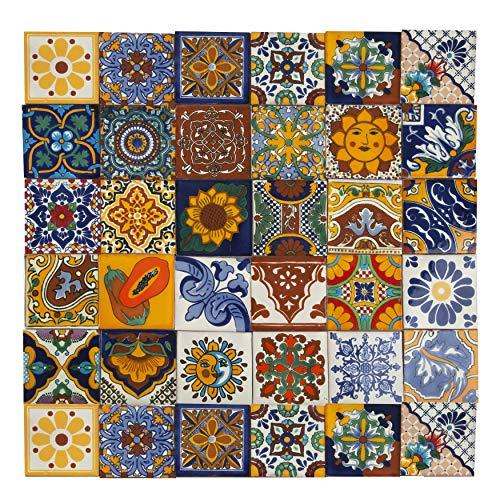 Conrado - 30 mexikanische Fliesen 10x10 cm Talavera Badezimmer- und Küchenfliesen Dekoration für Badezimmer, Dusche, Treppen, Küchenrückwand, Zementfliesen, marokkanische Designs