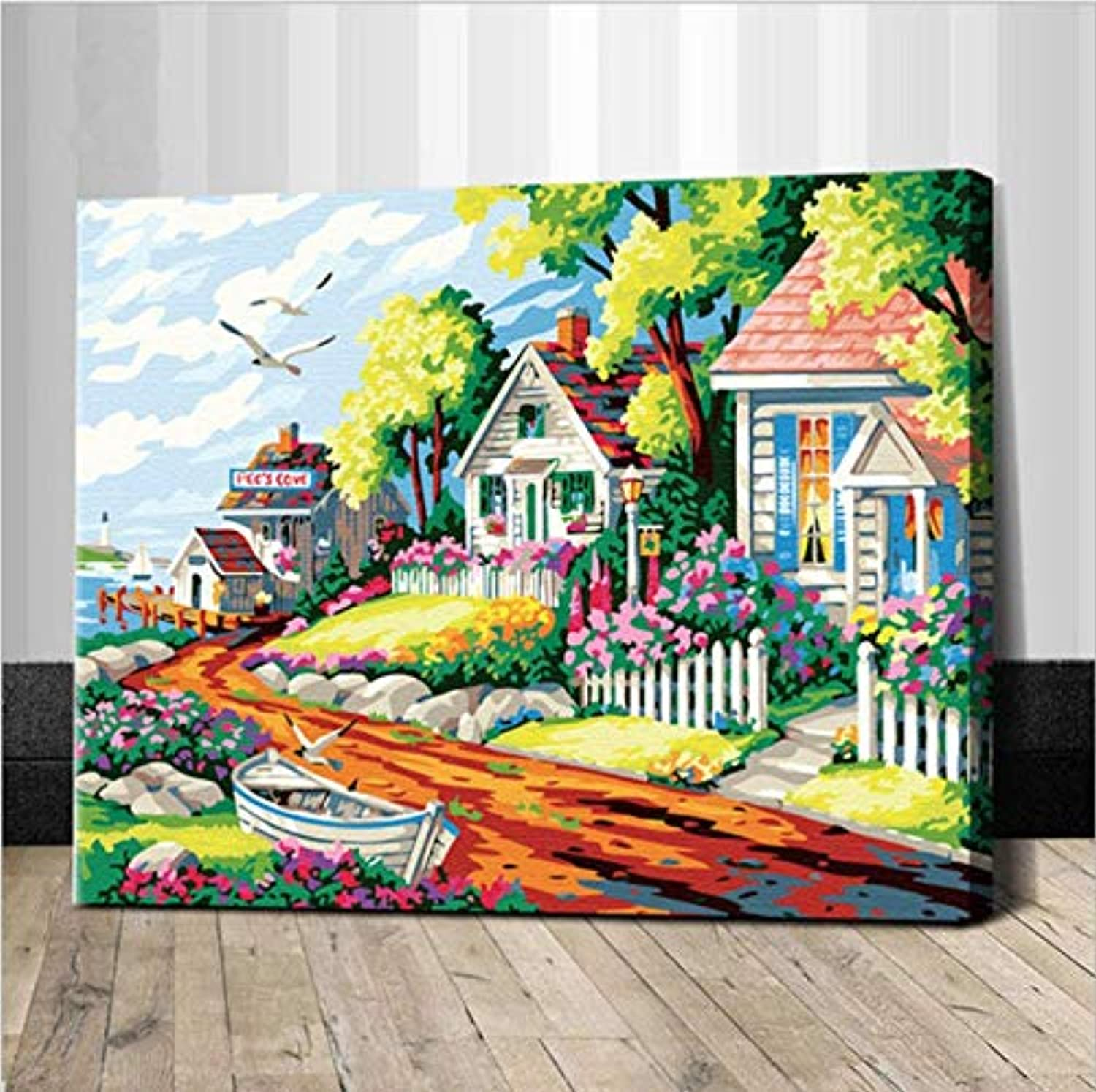 UPUPUPUP Seaside Picture Painting By Numbers On Wall Acrylic Cartoon Villa coloring By Numbers Diy Canvas Handpainted Arts,Tworidc550X70Cm Framed