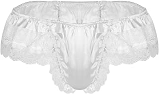 YONGHS Men's Frilly Satin Floral Lace Bikini Briefs Sissy Maid Skirted Panties Knickers Underwear