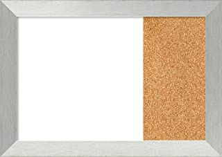 Framed Dry Erase and Cork Board Combo | Bulletin Boards and Cork Boards | Multifunctional Combo Boards | Brushed Sterling Silver Frame | 31.00 x 22.00