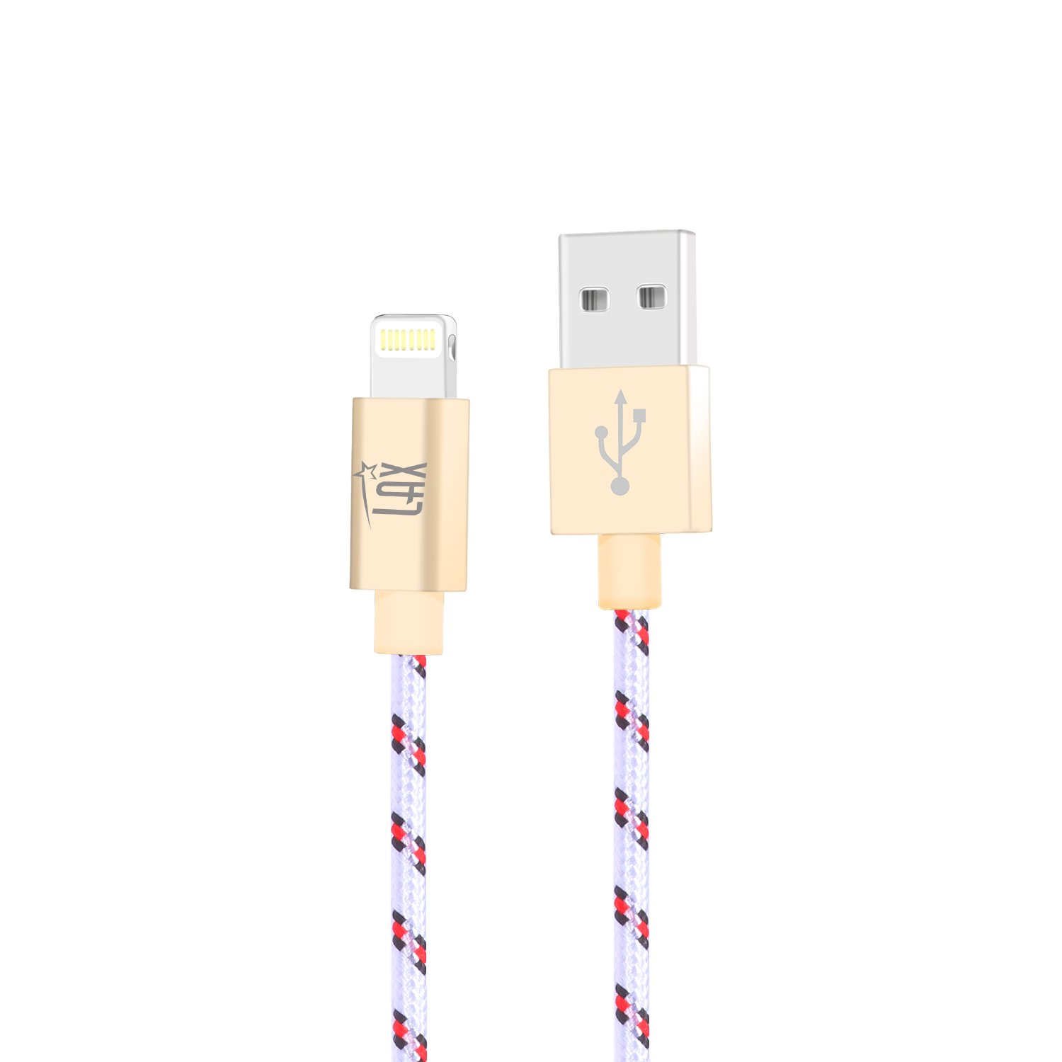 LAX Gadgets iPhone Charger Lightning Cable - MFi Certified Durable Braided Apple Lightning USB Cord for iPhone 11/11 Pro Max/XS Max/X/iPad, iPod & More