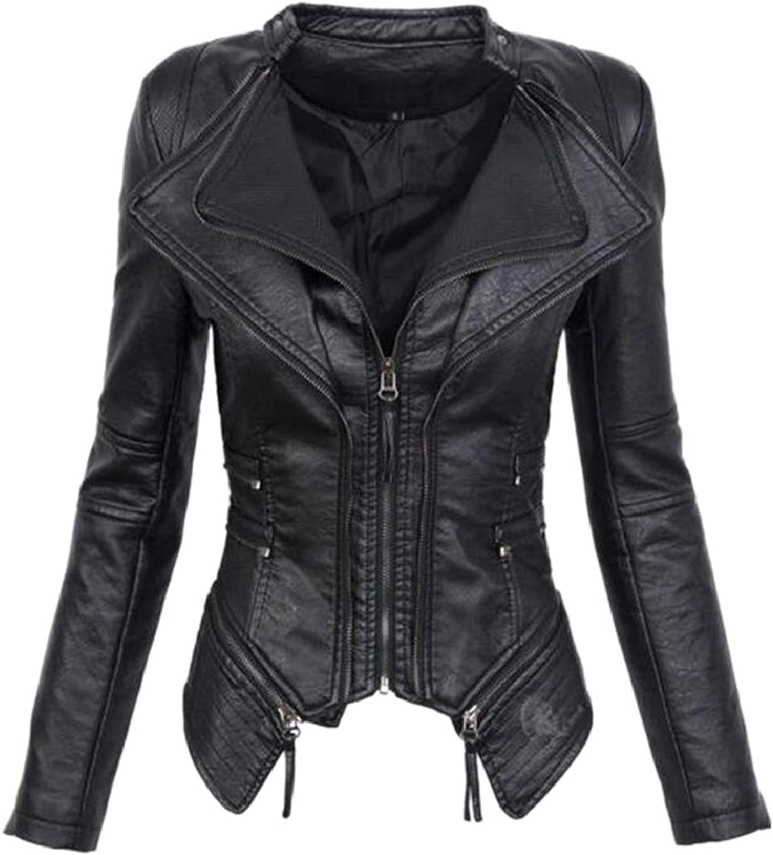 QDCACA Womens Windbreaker Gothic Punk Faux Leather Short Jackets
