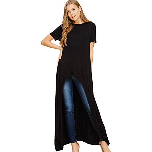 d0487c43885 Annabelle Women's Comfy Short Sleeve Round O Neck Long Hi-Lo Maxi Tunic  Tops S