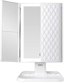 آینه آرایش Vanity Mirror with Lights - 3 Mode Lighting Mode 72 LED Tripleold Mirror، 1x/2x/3x بزرگنمایی ، طراحی کنترل لمسی ، آینه آرایشی روشن با کیفیت بالا قابل حمل