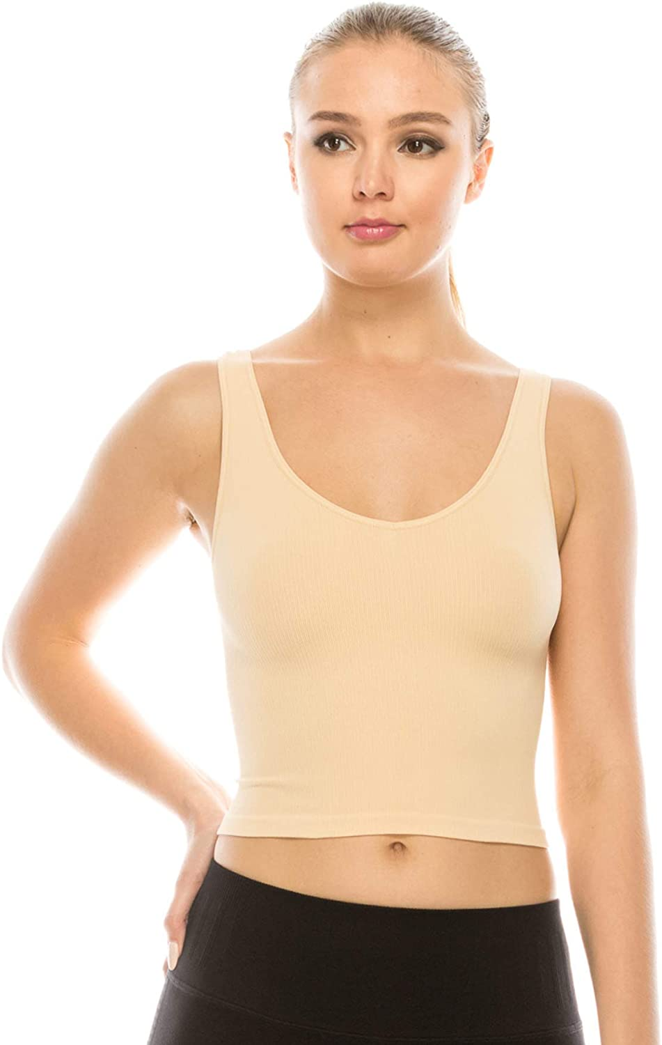 Kurve Women's Crop Tank Top – Sleeveless Ribbed Seamless Cropped Yoga Workout Cami UV Protective Fabric UPF 50+ Made in USA
