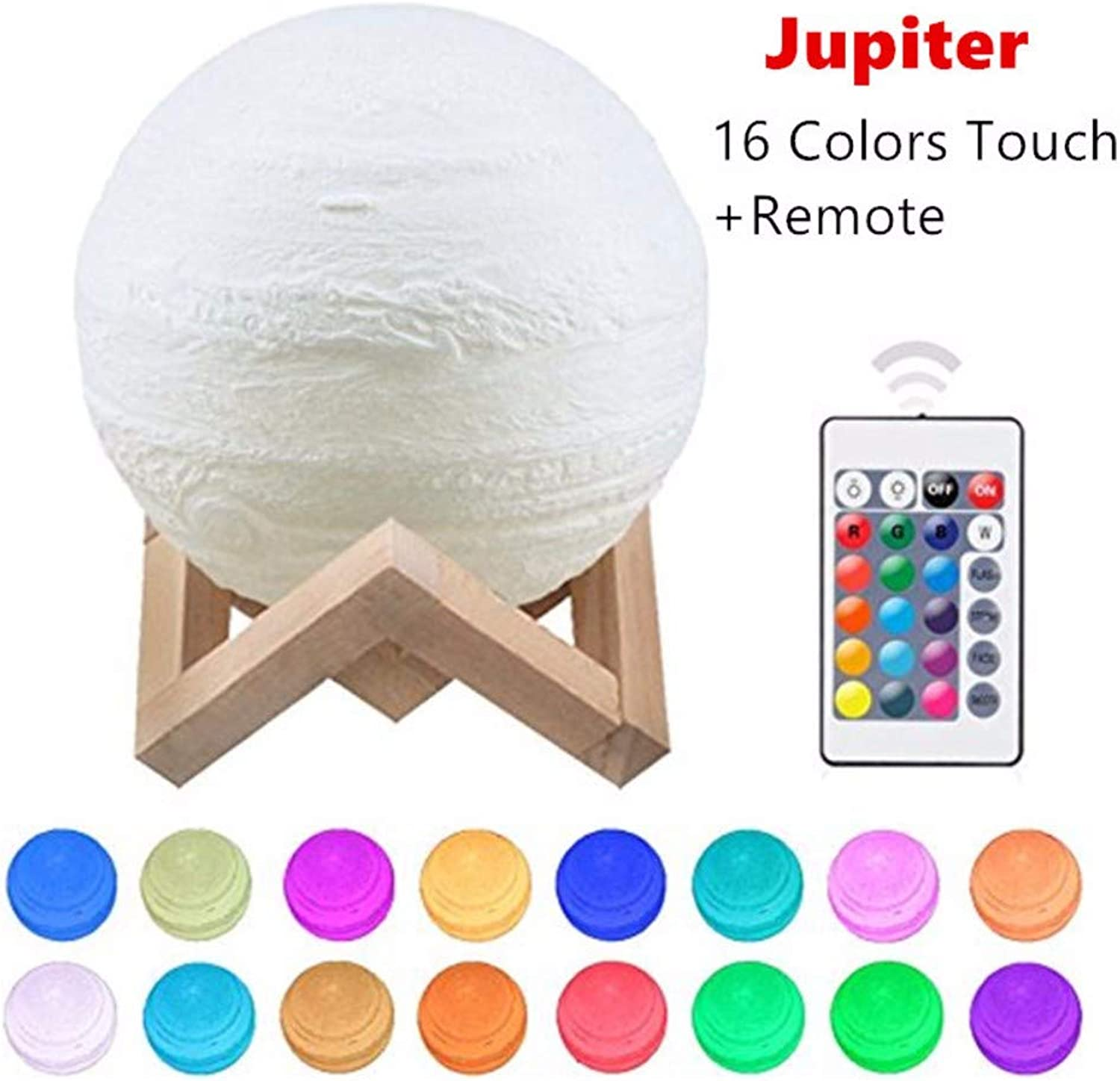 DZXGY 16color Dropship 3D Print Jupiter Lamp colorful Moon Lamp Rechargeable Change Touch USB Led Night Light Home Decor Creative Baby Gift10cm