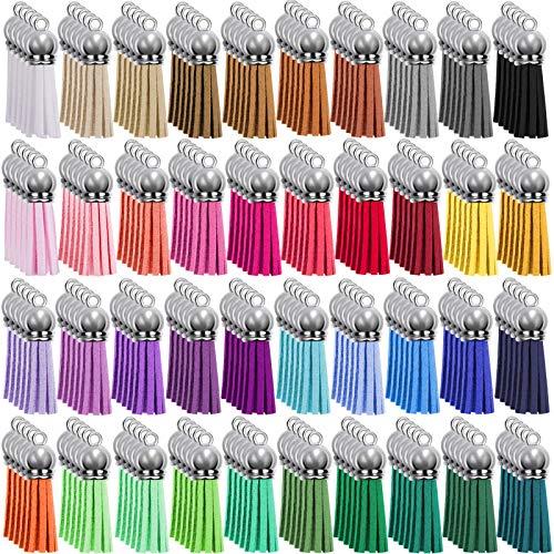 Duufin 200 Piezas Borlas de Llaveros Colgantes de Borlas Mini Borlas de Ante para Llavero DIY Accesorios, 40 Colores (Gorra de Plata)