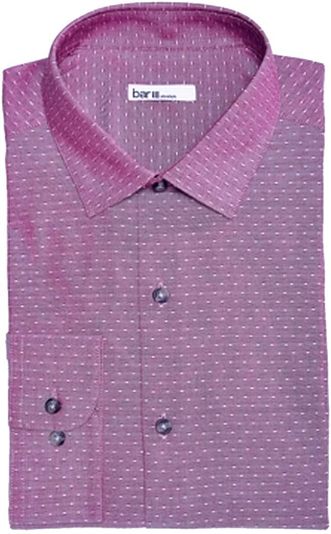 bar III Mens Coral Collared Slim Fit Dress Shirt S 14/14.5-32/33 Purples