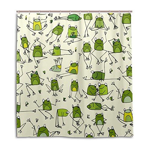 MyDaily Funny Frosch Doodle Duschvorhang 167,6 x 182,9 cm, schimmelresistent und wasserdichte Polyester-Dekoration Badezimmer Vorhang