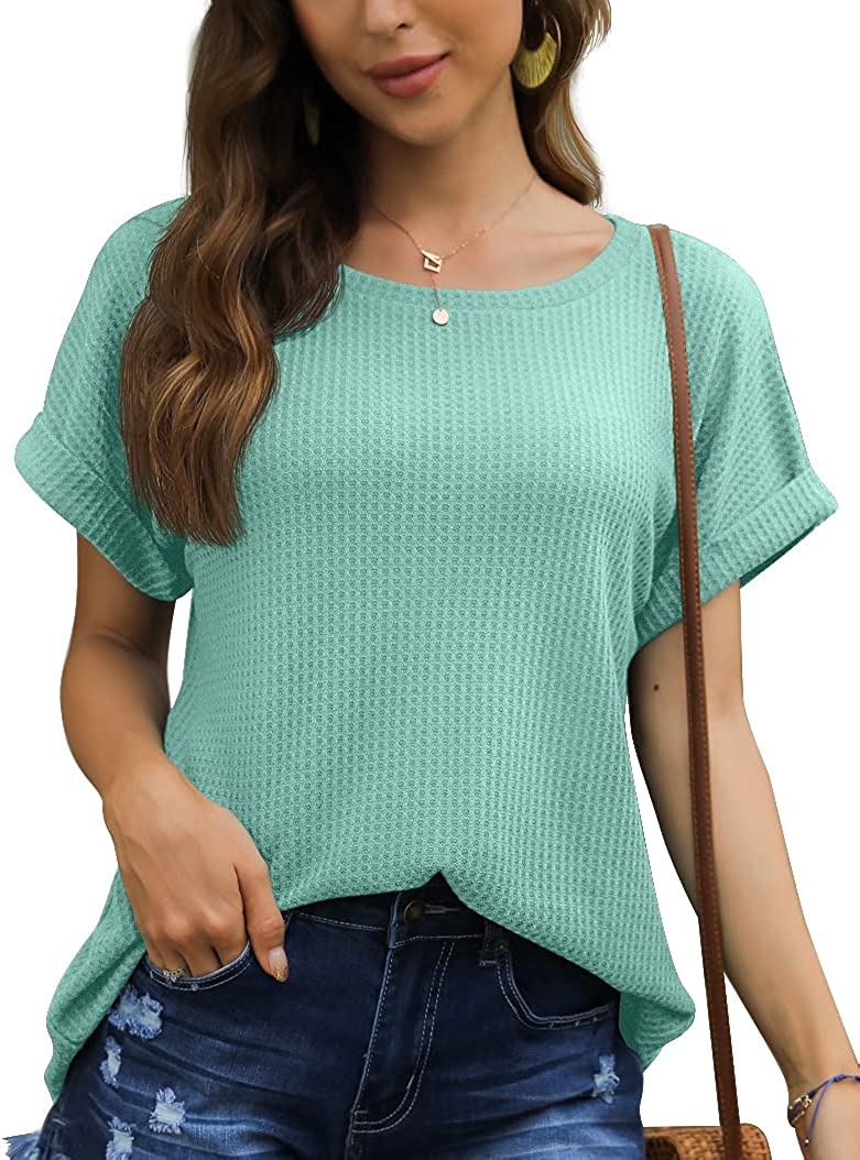 IWOLLENCE Women's Waffle Knit Casual T Shirt Summer Short Sleeve Loose Blouse