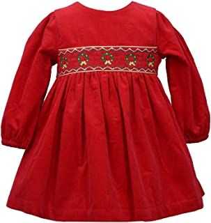 Bonnie Jean Baby Girl's Holiday Christmas Dress - Red Smocked Corduroy for Baby and Toddler
