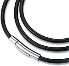 jonline24h Black Leather Cord Necklace Rope Chain with Stainless Steel Clasp 3mm 14-30 inch