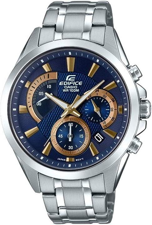 Casio - cronografo da uomo al quarzo con cinturino in acciaio inox EFV-580D-2AVUEF