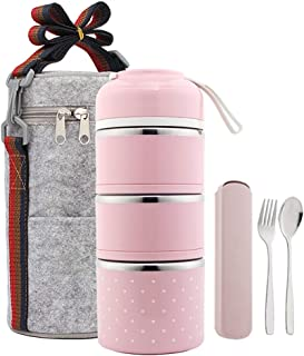 YBOBK HOME Bento Lunch Box Leakproof Stainless Steel Stackable Lunch Box with Bag and Reusable Flatware Set Thermal Food Storage Container for Healthy On-the-Go Meal and Snack Packing (3-Tier, Pink)