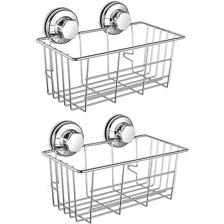 シャンプーラック シャワーラック 浴室ラック シャンプ置き お風呂 洗面所収納ラック ステンレスラック 吸盤 2個入