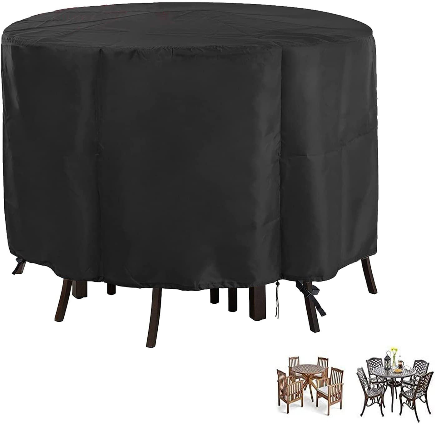 Outdoor Patio Furniture Covers, 9 x 9inch Waterproof and UV Resistant  Round Patio Dining Table and Chairs Set Cover with Drawstring fits for 9 ...