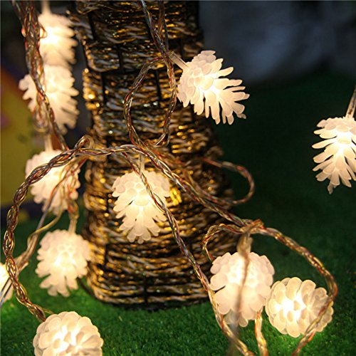 IDS 16ft/5m 20 LED Warm White Fairy Pinecones String Lights for Christmas...