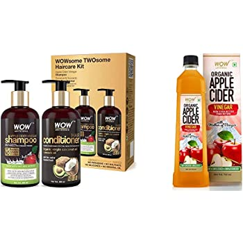 WOW Apple Cider Vinegar Shampoo - WOWsome Twosome No Parabens & Sulphates Hair Care Package – 600mL & WOW Skin Science Anti Acne Face Wash - Oil Free - No Parabens, Sulphate, Silicones & Color