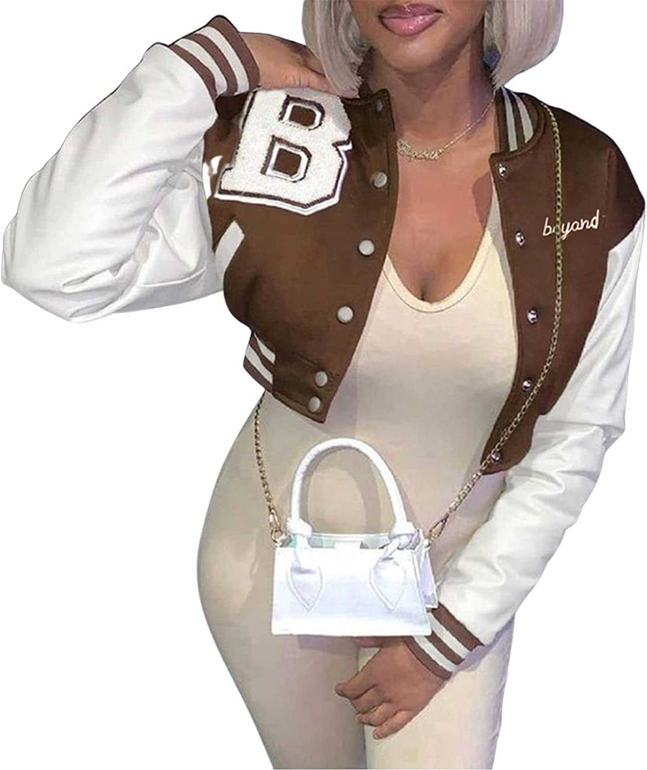 Women Shacket Baseball Jacket Graphic Cinch Bottom Cropped Motorcycle Outerwear Snap Buckle Embroidery Coat