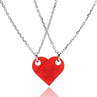 DURSI Matching Necklaces for Couples, Cute BFF Jewelry Friendship Red Brick Heart Pendant Necklace Set for 2 Best Friends
