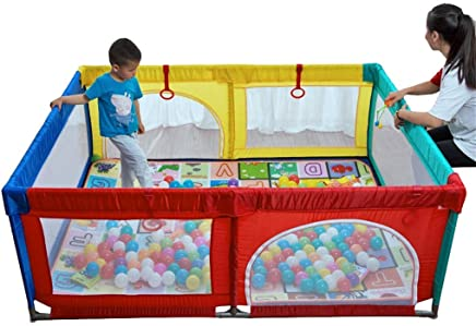 WJSW Adorable Safety Play Center Yard Playpen Tent Breathable Large Playpen with Zipper Door Open Outdoor Indoor Exercise Fence  Portable Yard Fence Size 74 8 47 24 27 56 In Balls Not Included