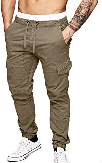 Pantaloni Uomo Moda Cargo con Coulisse E Tasche Laterali Trousers Morbuy Tinta Unita Tuta alla Moda Sport Pants Elastici Casuale Maschi