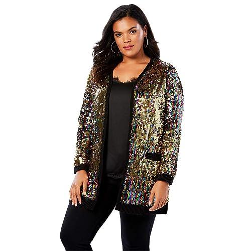 26c5fb1a5d729 Roamans Women s Plus Size Multicolor Sequin Cardigan