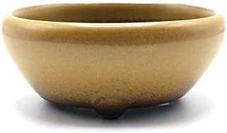 盆栽鉢 鉄鉢 黄釉(黄土色) 瀬戸焼 (3号(約10センチ))