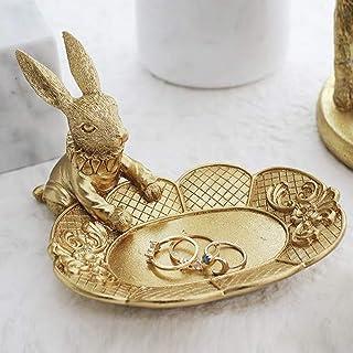 Lemonadeus Golden Rabbit Jewelry Dish Gold Rings tray Home Decor Accent Animals Jewelry Display Organizer Holder Small Fur...