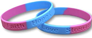 25 Pregnancy Loss Pink & Blue Silicone Awareness Bracelets - Medical Grade Silicone - Latex and Toxin Free (25 High Quality Bracelets)