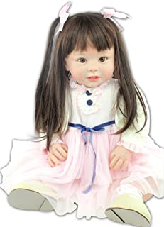 NPK Reborn Baby Doll Soft Silicone Vinyl Limbs+Head 28 inches Weighted Cloth Body Life Like Toddler Baby. Great Santa Gift for Children (d)