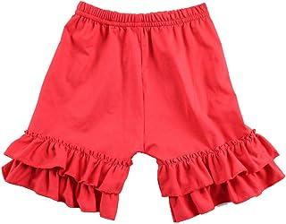 Wennikids Baby Girl Double Ruffle Cotton Girl Shorts