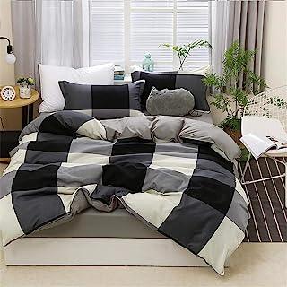 Ropa de cama 4 Piezas (1 pieza de sábanas y 1 funda nórdica y 2 fundas de almohada) Geometría Raya Negro Blanco Rosado Marina Azul (4 Piezas 200x230 cm - Cama 135 cm,Negro Blanco Celosía)