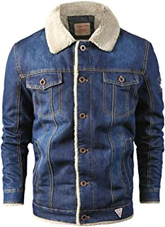 Denim Jacket Plush Fleece Thick Jacket Mens Truck Faux Cowboy Shaggy Oversized Coat Jacket with Pockets Warm Winter