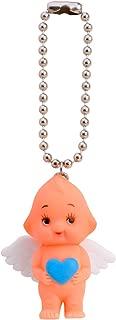 Obitsu Kewpie Vintage Rubber Baby Doll Angel Wings Heart Pendant Keychain Handbag Charm Mini Key Ring (Blue)