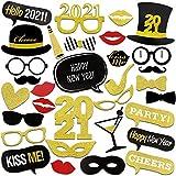HOWAF Neujahr 2021 Fotorequisiten Fotoaccessoires, Silvester Photo Booth Props Set mit Stick für Erwachsene Kinder Party Accessoires 2021 Neujahr Party Dekor Verkleidung Mitbringsel Maske (26 Pcs)