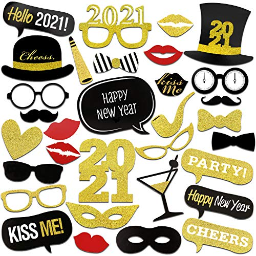 HOWAF 2021 Nouvel an Accessoires Photobooth Drôle DIY Kit Photo Booth Props déguisement Masquerade Chapeau Lunettes pour Adultes Enfants Nouvel an Anniversaire Mariage décoration faveur (31Pcs)