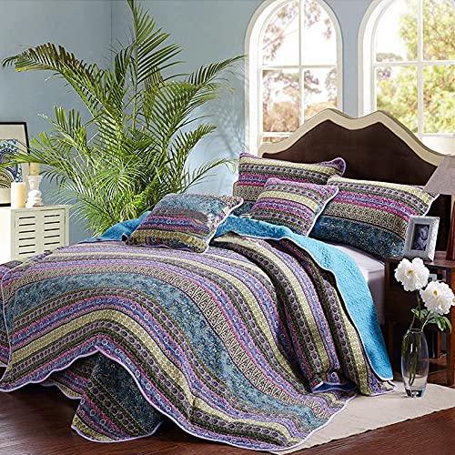 Qucover Böhmisch Tagesdecke Bettüberwurf mit Kissenbezug Bunt Boho Steppdecke aus Baumwolle Blau Weich Gesteppte Decke für Doppelbett (230x250 cm, Blau)